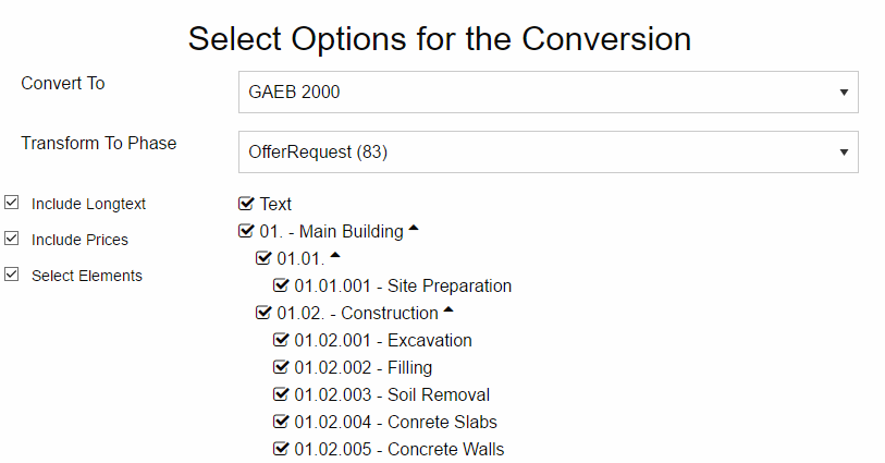 Options for the GAEB Converter