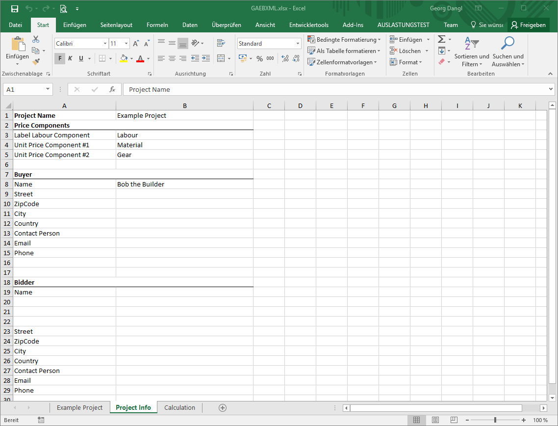 GAEB in Excel - Project Information Worksheet