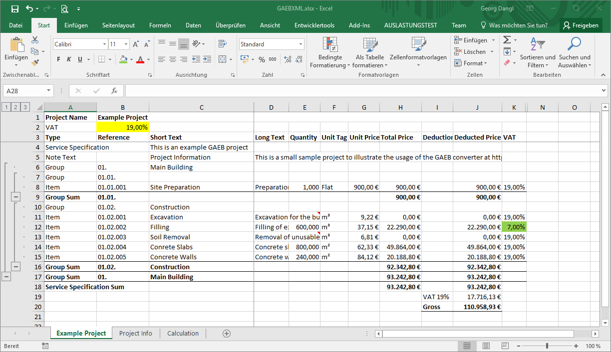 GAEB in Excel - Tax Rates
